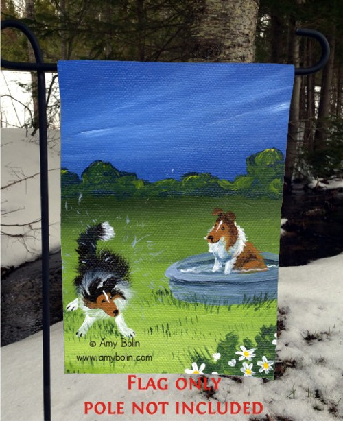 """A Quick Dip"" Sable Shetland Sheepdog Garden Flag"