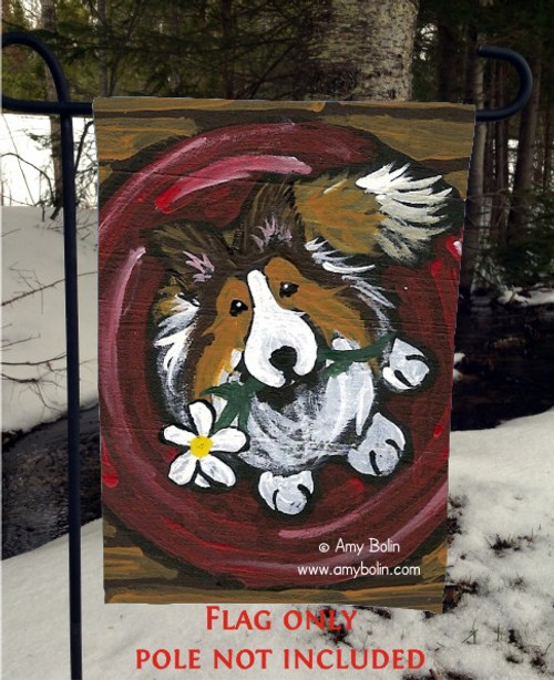 """Be Mine"" Sable Shetland Sheepdog Garden Flag"