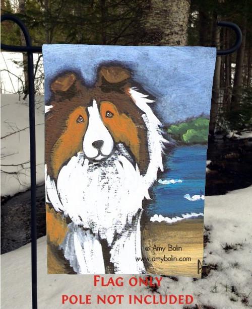 """""""Day At The Beach"""" Sable Shetland Sheepdog Garden Flag"""