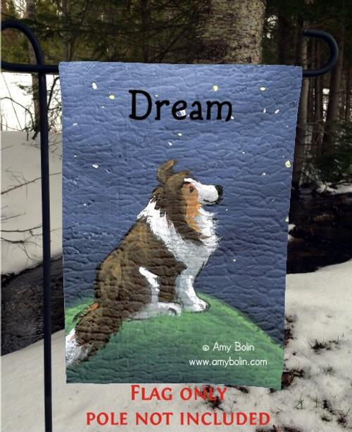 """""""Dream"""" Sable Shetland Sheepdog Garden Flag"""