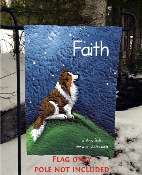 """""""Faith"""" Sable Shetland Sheepdog Garden Flag"""