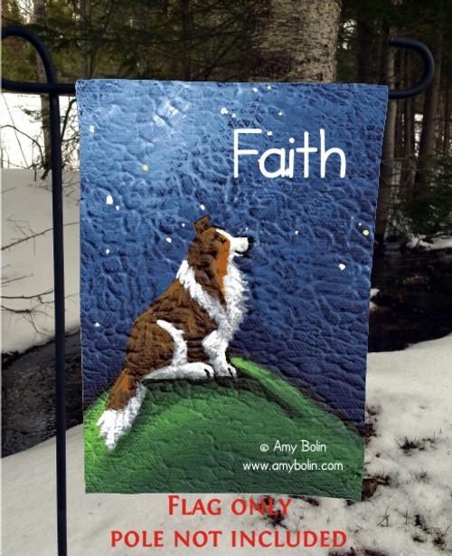 GARDEN FLAG · FAITH · SABLE SHELTIE · AMY BOLIN