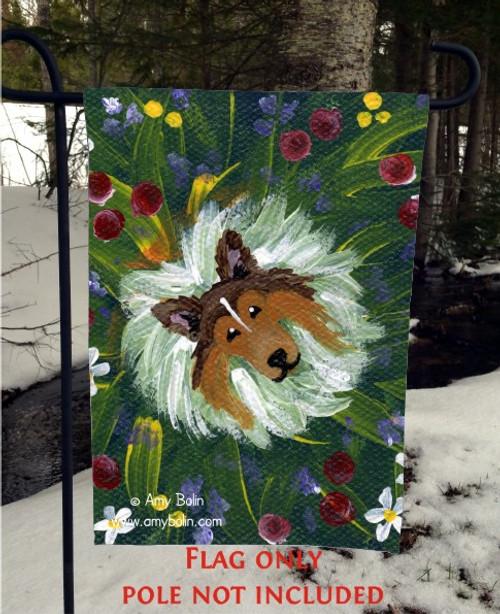"""""""In Mom's Flowers Again"""" Sable Shetland Sheepdog Garden Flag"""