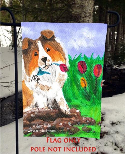 """""""Little Gardener"""" Sable Shetland Sheepdog Garden Flag"""