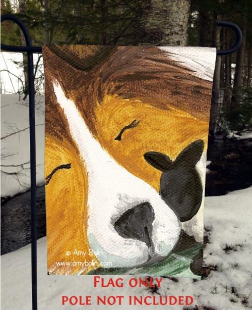 """Little Guardian"" Sable Shetland Sheepdog Garden Flag"