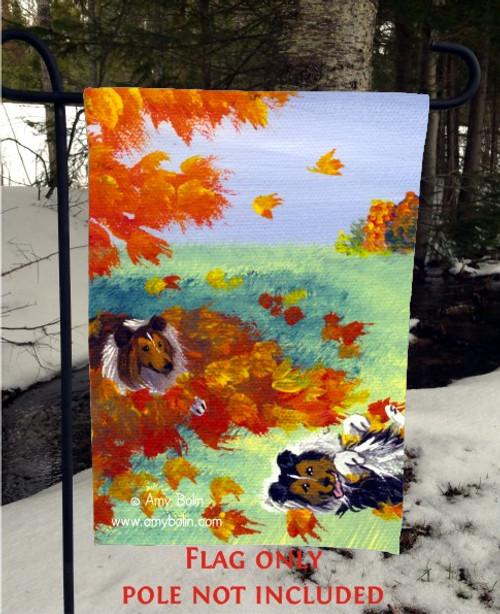 """Lounging In The Leaves"" Sable Shetland Sheepdog Garden Flag"