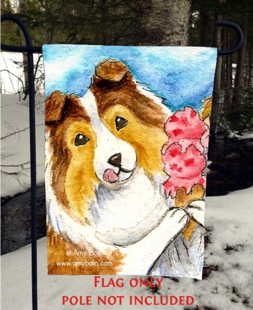 """Make Mine Cherry"" Sable Shetland Sheepdog Garden Flag"