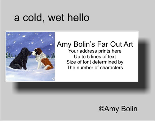 """A Cold, Wet Hello"" Black Newfoundland, Saint Bernard Address Labels"