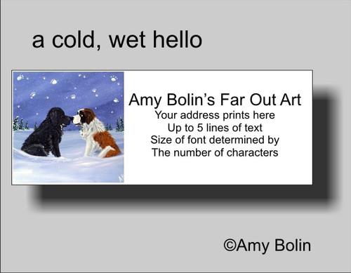 """""""A Cold, Wet Hello"""" Black Newfoundland, Saint Bernard Address Labels"""