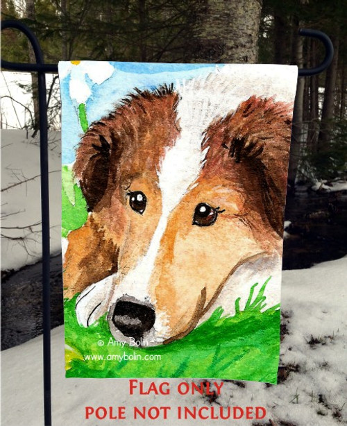 """""""Sable Pup"""" Sable Shetland Sheepdog Garden Flag"""