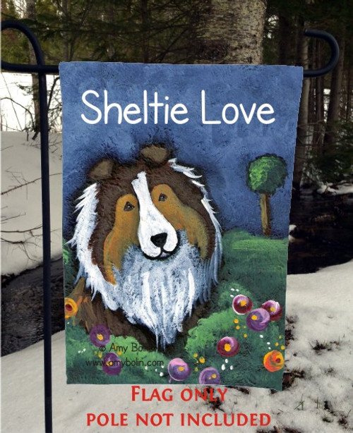 GARDEN FLAG · SHELTIE LOVE · SABLE SHELTIE · AMY BOLIN