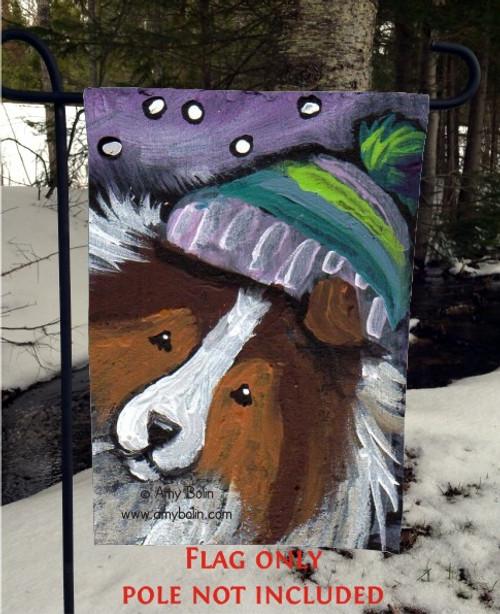 """Snowy Weather"" Sable Shetland Sheepdog Garden Flag"