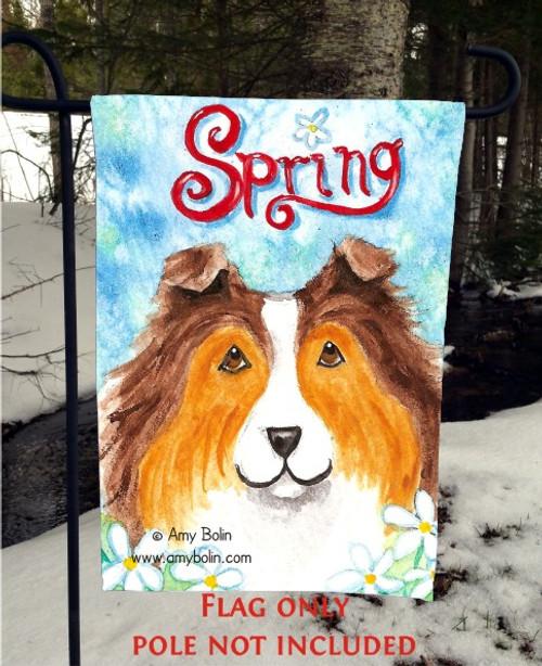 """""""Spring"""" Sable Shetland Sheepdog Garden Flag"""