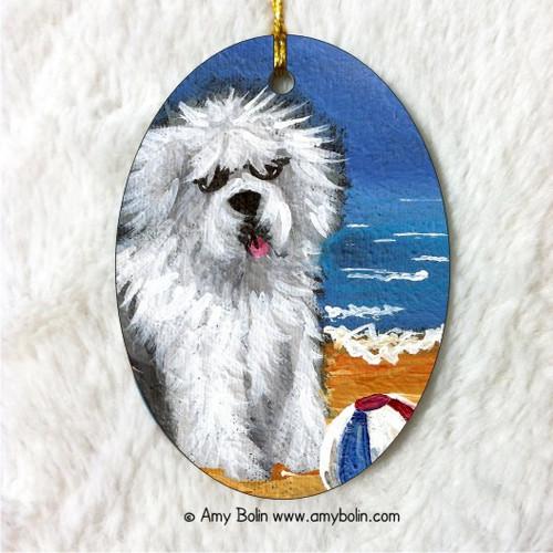 """Beach Bum"" Old English Sheepdog Ceramic Ornament Oval"