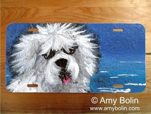 """""""Beach Bum"""" Old English Sheepdog License Plate"""