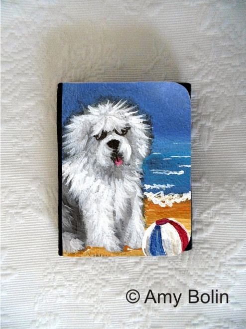 """Beach Bum"" Old English Sheepdog Small Organizer Wallet"