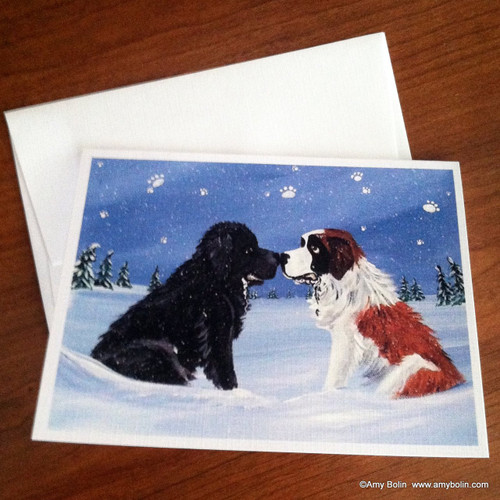 """A Cold, Wet Hello"" Black Newfoundland, Saint Bernard Note Cards"