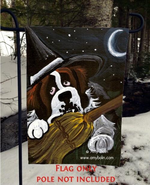 """""""Not So Wicked Witch"""" Saint Bernard Garden Flag"""