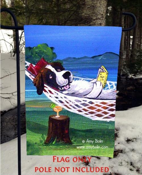 """""""The Best Summer Ever"""" Saint Bernard Garden Flag"""