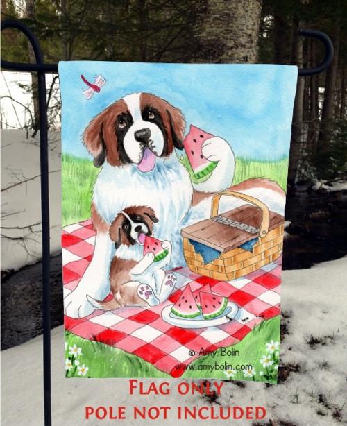 """The Sweet Taste Of Summer"" Saint Bernard Garden Flag"