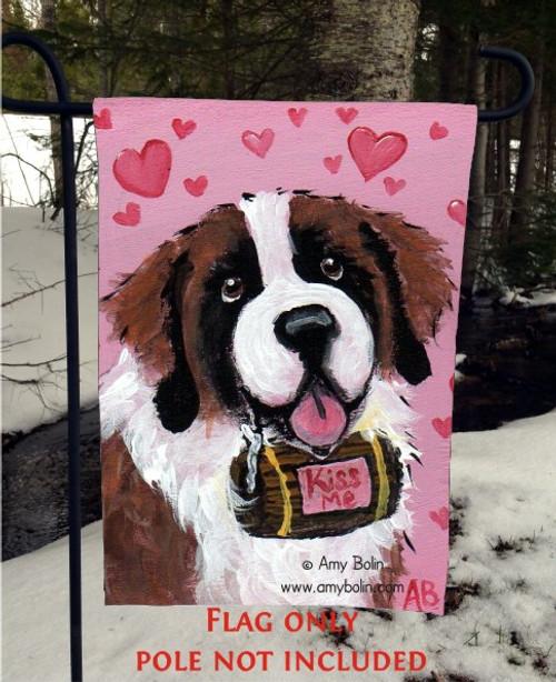 """Valentine Kisses"" Saint Bernard Garden Flag"