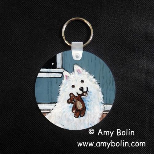 """Bedtime Buddies"" Samoyed Keychain"