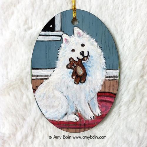 """Bedtime Buddies"" Samoyed Ceramic Ornament Oval"
