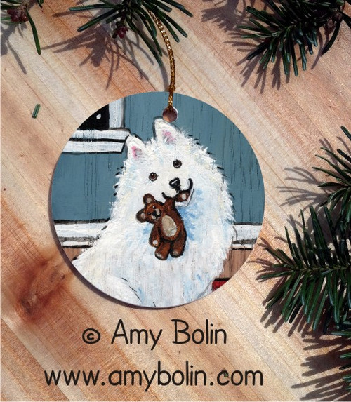 """Bedtime Buddies"" Samoyed Ceramic Ornament Round"