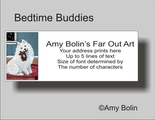"""Bedtime Buddies"" Samoyed Address Labels"