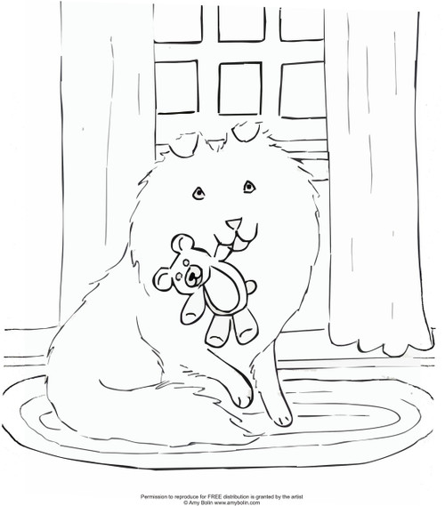 "FREE COLORING SHEET DOWNLOAD · ""Bedtime Buddies"" · SHELTIE · AMY BOLIN"