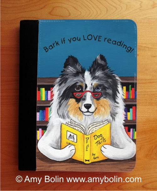 "LARGE 9½"" by 12½"" NOTEBOOK · DOG TAILS VOL 5 · BLUE MERLE SHELTIE · AMY BOLIN"
