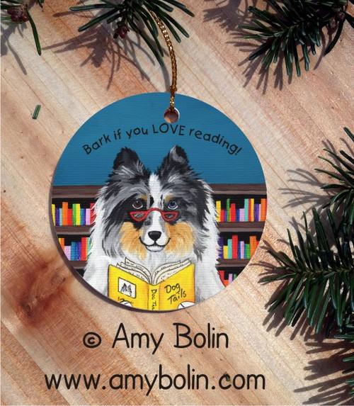 """Dog Tails Vol 5"" Blue Merle Shetland Sheepdog Ceramic Ornament Round"