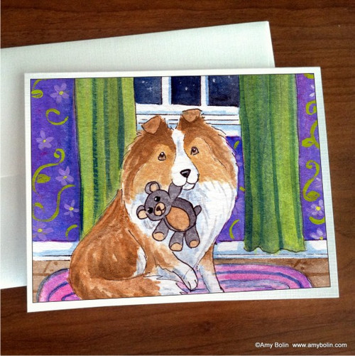 """Bedtime Buddies"" Sable Shetland Sheepdog Note Cards"