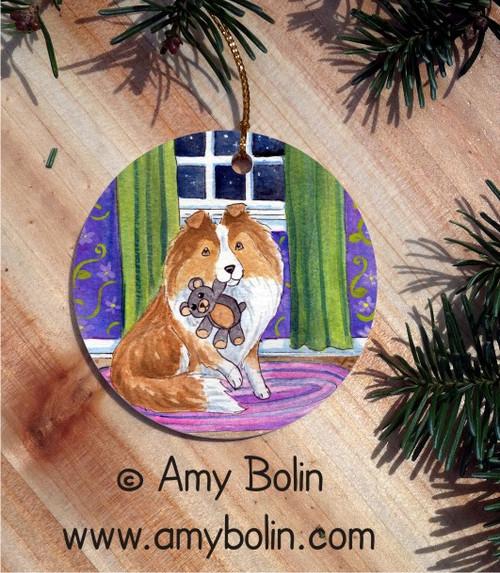 """Bedtime Buddies"" Sable Shetland Sheepdog Ceramic Ornament Round"