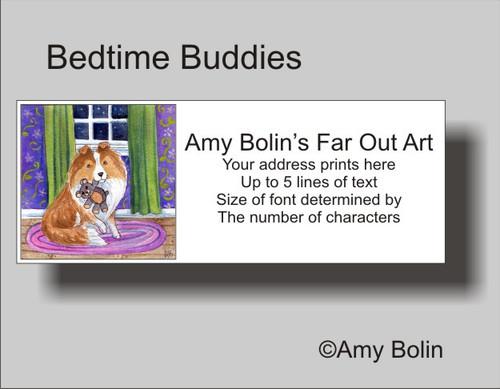 """""""Bedtime Buddies"""" Sable Shetland Sheepdog Address Labels"""