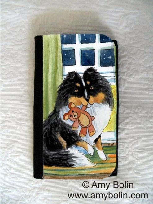 """Bedtime Buddies"" Tri Color Shetland Sheepdog Large Organizer Wallet"