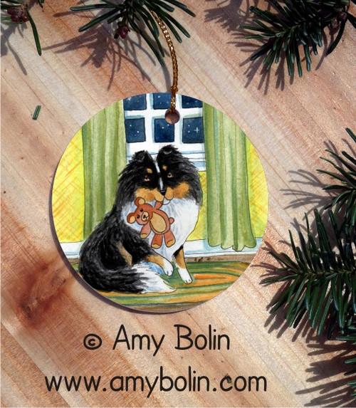 """""""Bedtime Buddies"""" Tri Color Shetland Sheepdog Ceramic Ornament Round"""