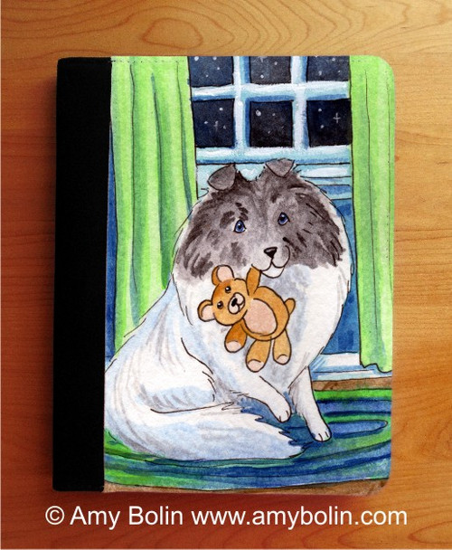 """Bedtime Buddies"" Color Headed White Shetland Sheepdog Notebooks (several sizes available)"