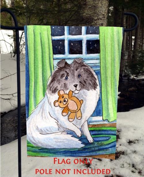 """""""Bedtime Buddies"""" Color Headed White Shetland Sheepdog Garden Flag"""