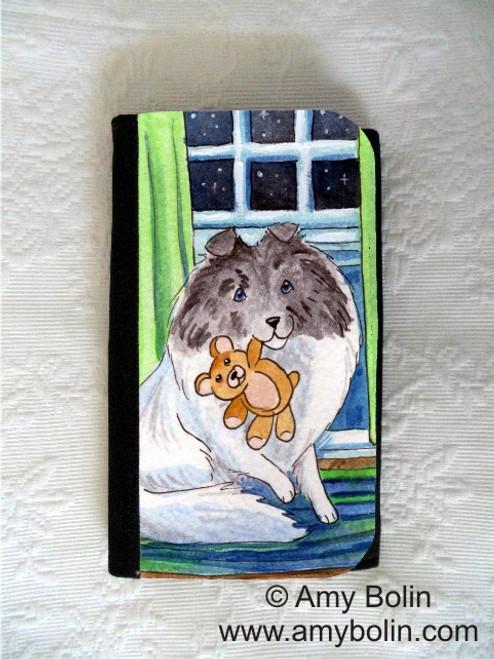 """Bedtime Buddies"" Color Headed White Shetland Sheepdog Large Organizer Wallet"