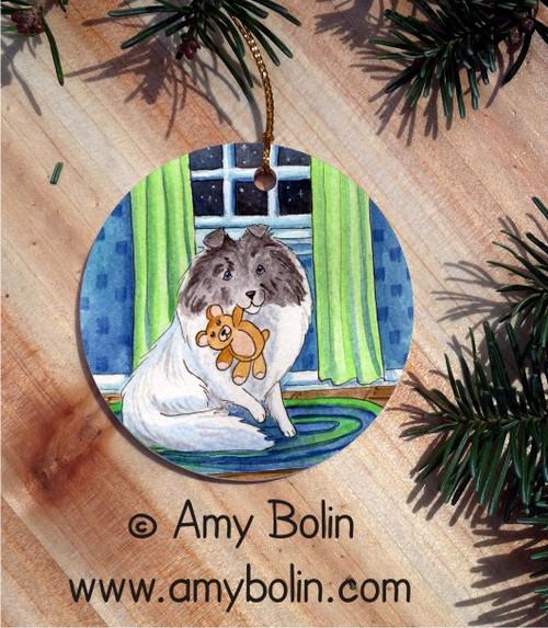 """Bedtime Buddies"" Color Headed White Shetland Sheepdog Ceramic Ornament Round"