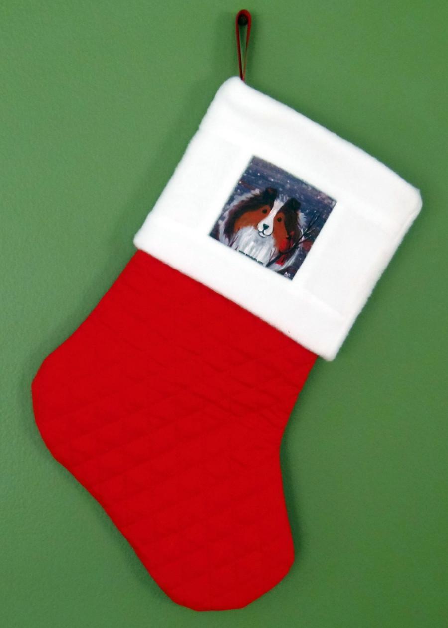 "Handmade Stocking     ""'Winter Buddies, Sable Sheltie""     Shetland Sheepdog   By Dawn Johnson"