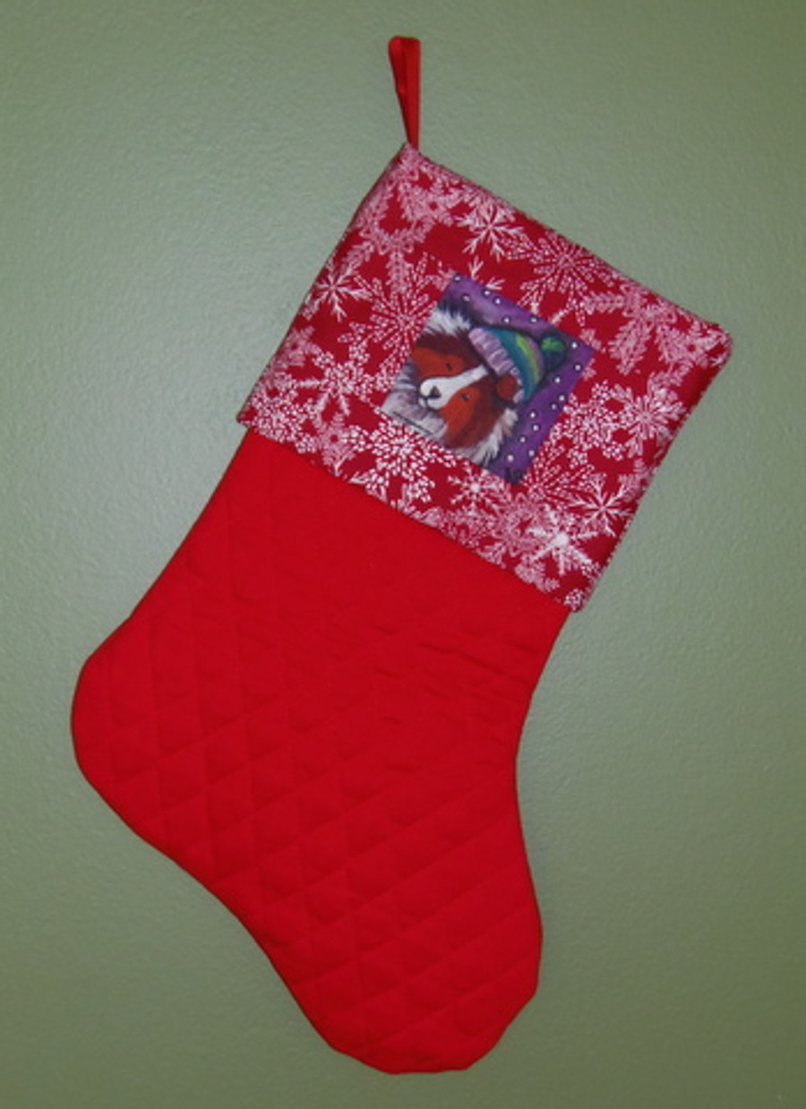 "Handmade Stocking     ""Snowy Weather, Sable Sheltie""     Shetland Sheepdog   By Dawn Johnson"