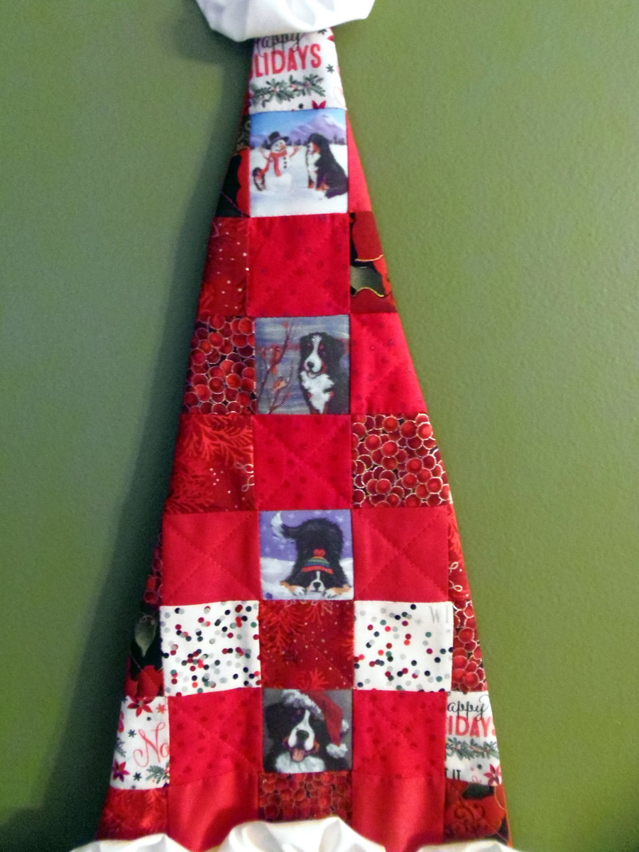 """Quilted/Handmade Santa wall hanging  """"Our Snowy Friend, Winter Buddies/Cardinal, Playful Pup, and Merry Merlin"""" Bernese Mountain Dogs By Dawn Johnson"""