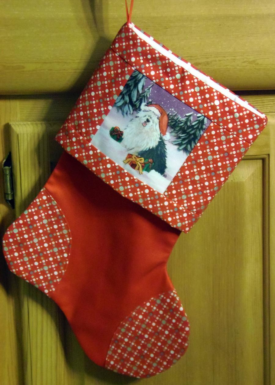 "Handmade Stocking     ""Merry Christmas""      Old English Sheepdog       By Dawn Johnson"