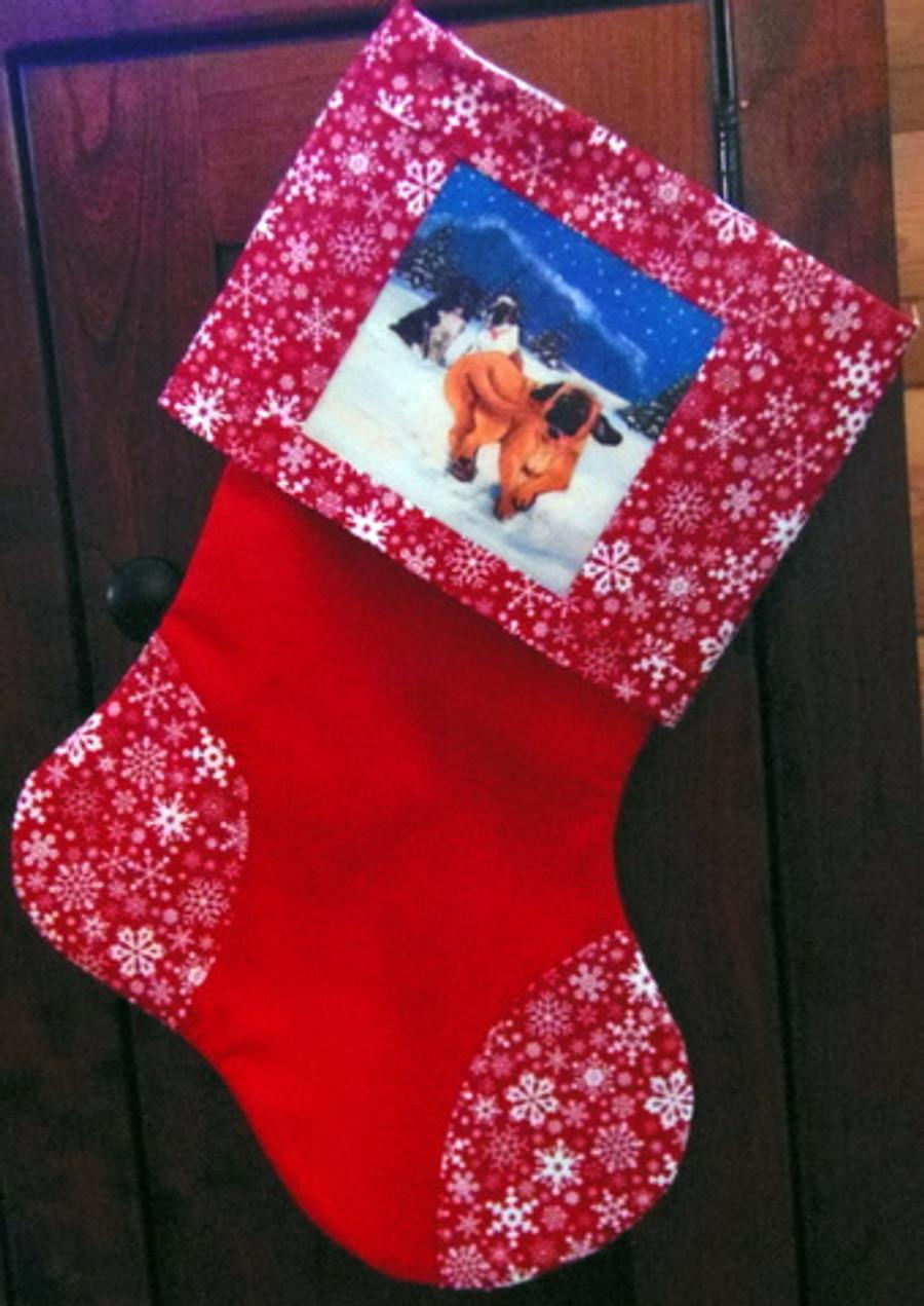 """Handmade Stocking     """"Snowy Day""""      Mastiffs      By Dawn Johnson"""