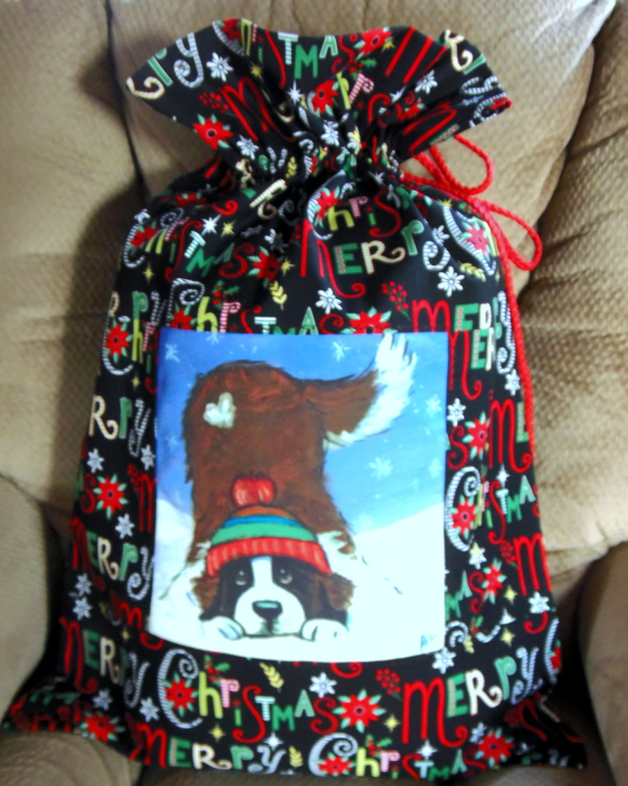 "Whimsical  Handmade Holiday Gift Bag             ""Playful Pup""    Saint Bernard and Berenesse Mountain Dog        Dawn Johnson"
