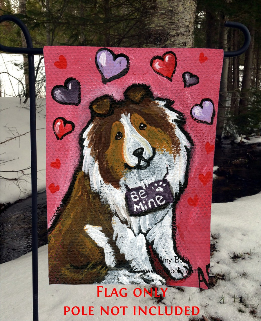 GARDEN FLAG · MY VALENTINE · SABLE SHELTIE · AMY BOLIN