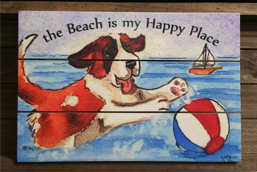 """""""Summertime Fun""""  Saint Bernard wooden cottage style sign"""