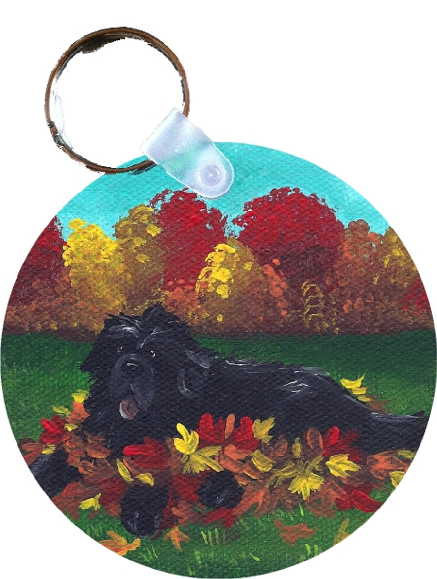 KEY CHAIN · HAPPINESS IS A PILE OF LEAVES · BLACK NEWFOUNDLANDS  · AMY BOLIN